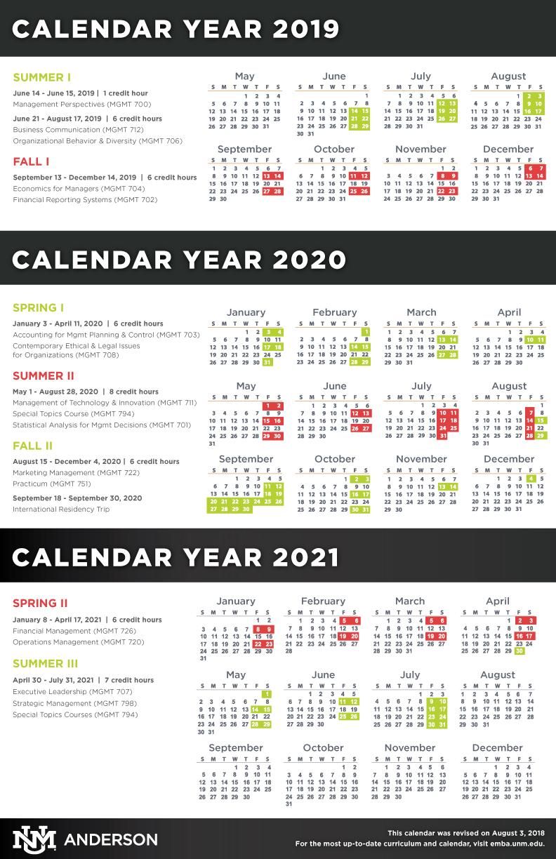 Unm Academic Calendar Fall 2020.Calendar Schedule Course Descriptions Anderson